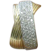 "14 K Yellow Gold White Gold Pave' cluster ""EFFY"" Band"