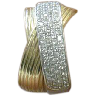 """14 K Yellow Gold White Gold Pave' cluster """"EFFY"""" Band"""