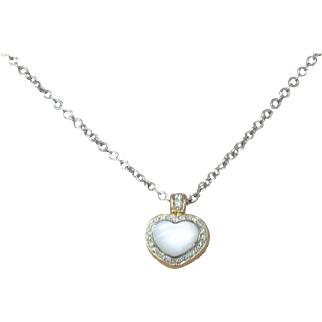 18K Yellow Gold Pasquale Bruni Vintage Mother if Pearl & Diamond Accent Heart Pendant