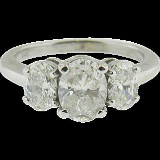 14 K White Gold 3 Oval  Stone Diamond Ring. Engagement, Promise, Anniversary