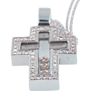 18 K White Gold & Crystal Diamond Cross