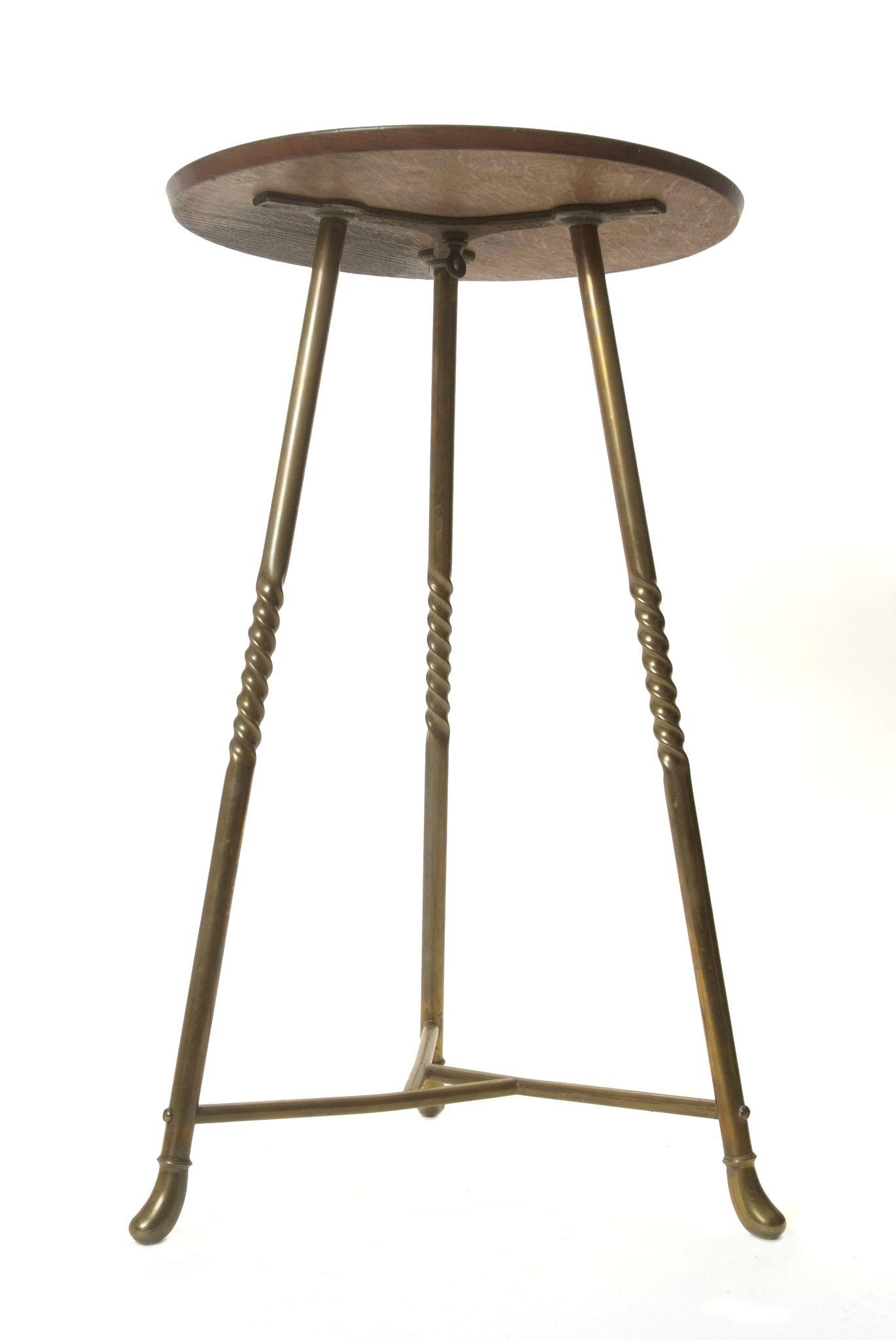 Brass and oak table stand from doriswarehouse on ruby lane for Table stand i 52 compose