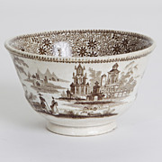 Porcelain Brown and White Bowl, c. 1850