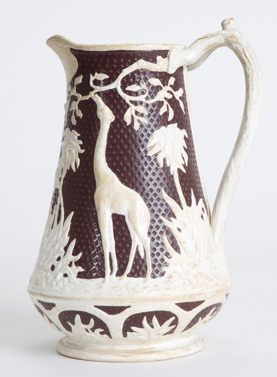 Jasperware Brown and White Giraffe Pitcher