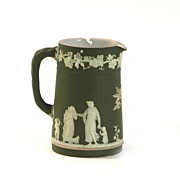 Wedgewood Jasperware Green and White Pitcher
