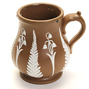 Tiny, Brown & White Jasperware Pitcher
