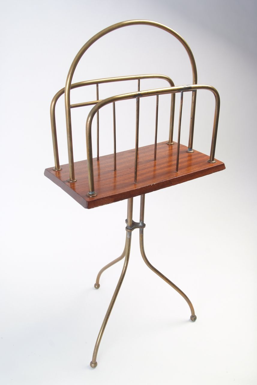 Wooden and Metal Magazine Rack Circa 1880