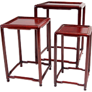 Red Laquer nesting tables Circ 1900