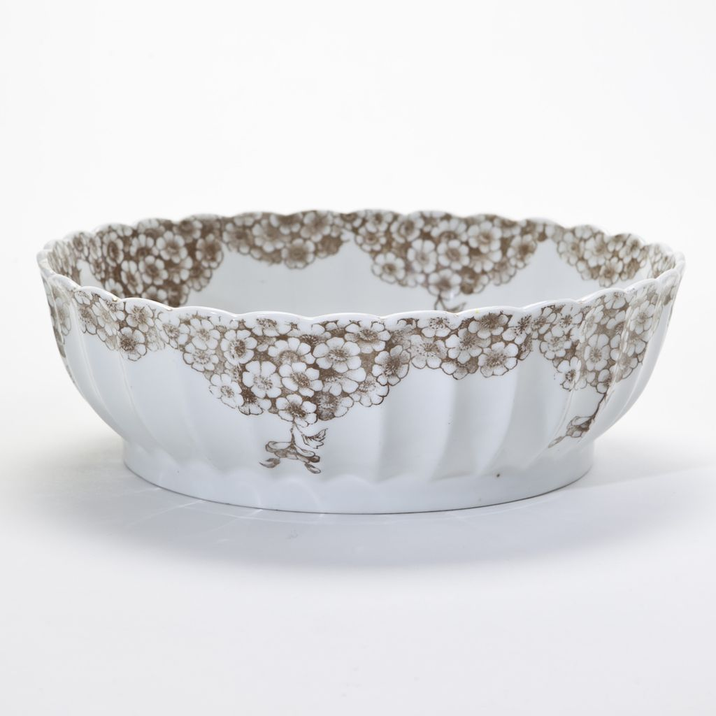 White and Brown Floral Putty Bowl