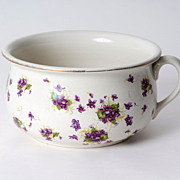 English White Porcelain Pot w/ Purple Flowers & Gold Rim, c. 1860