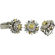 Multicolored Fancy Diamond Ring and Earring Set in Fourteen Karat Gold