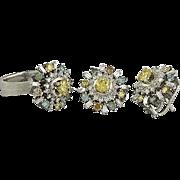 Multicolored Fancy Diamond Ring and Earring Set in Fourteen Karat Gold
