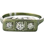 Art Deco Eighteen Karat Gold Old Mine Cut Diamond Ring