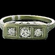 Art Deco Eighteen Karat Gold Old Mine Cut Diamond Ring
