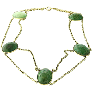 Victorian Fourteen Karat Gold Green Hardstone Necklace
