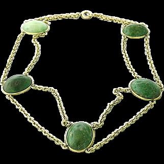 Victorian Fourteen Karat Gold Green Hardstone Necklace