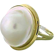 Vintage Mabe Pearl Ring and Earring Set in Fourteen Karat Gold
