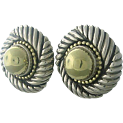 Vintage David Yurman Fourteen Karat Gold and Sterling Silver Earrings