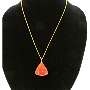 Red Jade Buddha Pendant on 24 Karat Gold Chain
