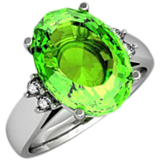 Six Carat Peridot Solitaire Diamond Ring in Fourteen Karat Gold