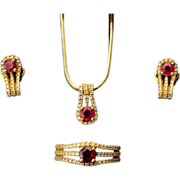 Ruby and Diamond Jewelry Set in Eighteen Karat Gold
