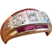 Retro Diamond and Ruby Ring in Fourteen Karat Gold