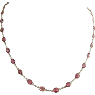 Faceted Pink Sapphire Necklace in Eighteen Karat Gold