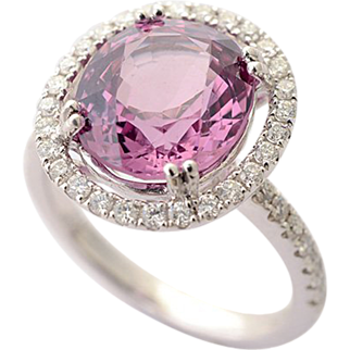 Certified 5 1/2 Carat Pink Spinel and Diamond Ring in Eighteen Karat Gold