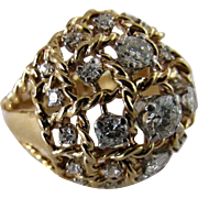 1960s Domed Diamond and 18 k Yellow Gold Ring