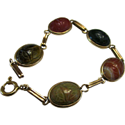 Multi-Stone Scarab Design Bracelet in Yellow Gold