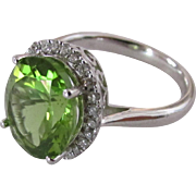 5.3 Carat Peridot and Diamond Ring in 14 k White Gold