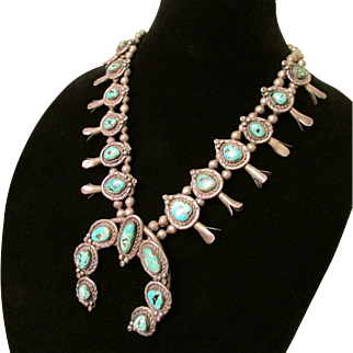 Vintage Native American Silver and Turquoise Squash Blossom Necklace
