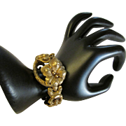 Art Nouveau Fourteen Karat Gold Flower Motif Bracelet