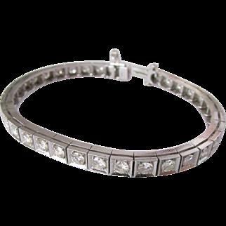 Five Carat Diamond Fourteen Karat White Gold Straightline Bracelet
