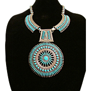 Zuni Needlepoint Silver and Turquoise Necklace