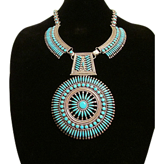 Zuni Needlepoint Style Silver and Turquoise Collar Necklace