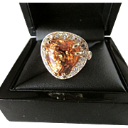 Sixteen Carat Solitaire Hessonite Garnet Fourteen Karat Gold Ring
