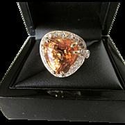Sixteen Carat Solitaire Hessonite Garnet Fourteen Karat Gold Ring