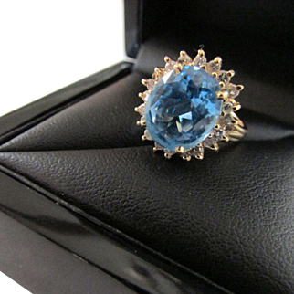 Five Carat Solitaire Swiss Blue Topaz Diamond 14 K Gold Ring