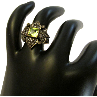Peridot Diamond 14 K Gold and Sterling Silver Ring
