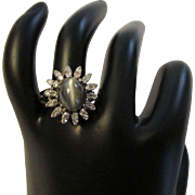 5.5 Carat Cat's Eye Chrysoberyl Diamond 14k Gold Ring