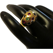 Ruby Sapphire Tsavorite Garnet 18k Gold Bombe Form Ring