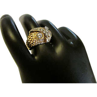 Diamond and 14 Karat Gold Owl Ring