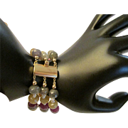 Multicolor Sapphire and Seed Pearl 14k Gold Bracelet