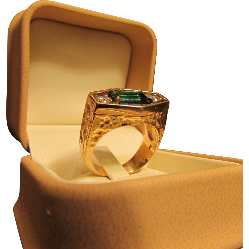 Indicolite Tourmaline and Diamond Solitaire Gents or Ladies Ring