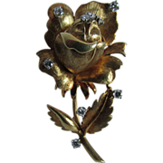 French Designed Flower Brooch in 18 Karat Gold with Accent Diamonds