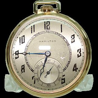 14 Kt Gold Hamilton 12 Size Pocket Watch 19 Jewels