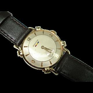 14 Kt Gold Men's Vintage BenrusFancy Lugs Wristwatch