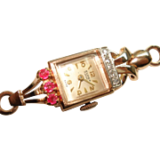 Art Deco 14 Kt Rose Gold Ladies Diamond Ruby Wristwatch Matching 14 Kt Snake Band