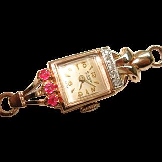 Art Deco 14 Kt Rose Gold Ladies Diamond Ruby Wristwatch Matching 14 Kt Snake Band